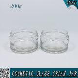 200ml vidrio transparente, crema de cuidado de la piel tarros con tapa de color aluminio