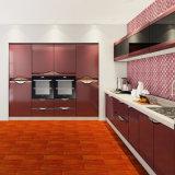 Gabinetes de cozinha lustrosos elevados luxuosos da laca da cor vermelha da elegância