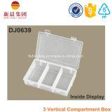Boîte en plastique claire de Comparment de 3 verticales