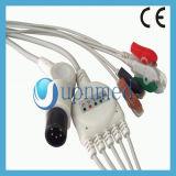 3- Universal directo de plomo/5-Lead ECG Cable con derivaciones, pinza/Snap
