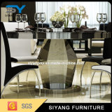 Tabela de jantar superior do vidro Tempered da mobília do hotel com aço inoxidável
