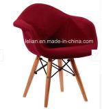 Poli moderno café jantar cadeira com perna sólidos de madeira (LL-0043)