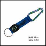 Black Webbing Short Keychain Strap with Compass Carabiner Hook Suporte de garrafa e Split Ring