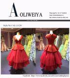 Vestido de noiva vermelho para casar com Tiered Tulle