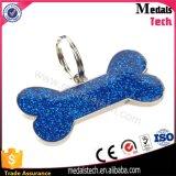 Las etiquetas de perro azules del espacio en blanco del metal de la plata del brillo de la dimensión de una variable del hueso venden al por mayor