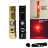 5 luz recarregável interna da tocha do sinal do USB Zoomable de 16340 baterias cor branca/vermelha da lanterna elétrica do diodo emissor de luz do CREE Q5 das modalidades 2*