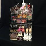 Abrir o organizador cosmético acrílico superior da composição com 5 gavetas