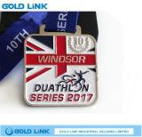 Récompense faite sur commande de module de finition de chemin de médaillon de marathon de médaille courante carrée