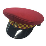 Kundenspezifische Qualitäts-rote Polizei bedeckt Militärmasken-Hut mit einer Kappe