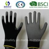 черный полиэфир 13G с перчатками безопасности покрытия PU Гэри (SL-PU206 (13G))
