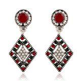 Серьги для женщин, разорванные в раскрывающемся списке Dangle серьги, красного цвета из Rhinestone Crystal Ювелирные изделия