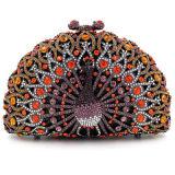 Europäische Art-Handtaschen-glänzende Diamant-Rosa-Pfau-Kupplungs-Abend-Beutel Eb705