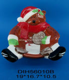 Ciotola di ceramica dipinta a mano della caramella dell'orso per la decorazione di natale