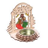 在庫のクリスマスの装飾またはホーム装飾のための誕生場面の木の蝋燭ホールダー