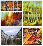 대중적인 팔레트 나이프 유화 두꺼운 짜임새 추상 예술, 나무, 춤 숙녀 의 도시 풍경 (FR2033)