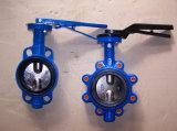 Крупноразмерная клапан-бабочка управлением воды с полной резиной EPDM выровнялась