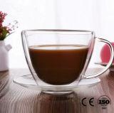 Vidrio taza de café y platillo doble pared Copa de café con la manija