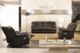 Sofa de cuir véritable de salle de séjour (C874)