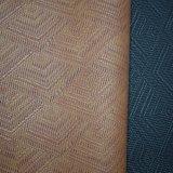 Couro do plutônio do teste padrão de Weave de cesta, couro de sapata sintético gravado