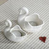Houder van de Kaars van Shped van de zwaan de Witte Ceramische (CC-01)
