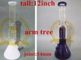 Verre borosilicaté de haute qualité percolateur tube droit Tall bol en verre de couleur bleu Craft cendrier pour le verre de l'inventaire du tuyau de pipe à eau