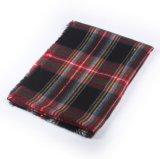 格子縞のカシミヤ織毛布の暖かいスカーフ