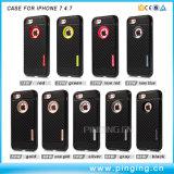 El caso del teléfono de caucho de fibra de carbono para el iPhone 7 iPhone 7