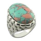 Anel grande da pedra de turquesa do estilo de India para homens