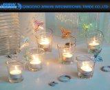 Peça de casamento de vidro transparente chá titulares da luz de velas Cup