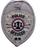 """Oficial de policía 2017 de la fuente del OEM - corrección de la divisa, óvalo, plata, 2-1/2 x 3-1/2 """" policía, sheriff, divisa bordada corrección uniforme de la muestra de la insignia de la seguridad"""