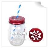 Round Mason Copo com tampa colorida para beber