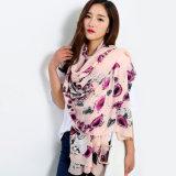 Senhora Fashion Flower Crânio impresso lenço de seda de viscose (YKY1151)