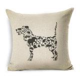 かわいくおかしいプードル犬の枕カバーの綿のリネンクッションの装飾的な枕