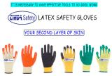 Calibre 10 paume enduite de polyester/coton vert de la sécurité ondulée des gants en latex