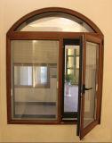 Окно Casement европейского пролома цвета типа деревянного термально алюминиевое с сдобренной верхней частью (ACW-004)