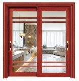 Precio razonable de puerta corrediza de aluminio de diseño de la puerta de seguridad con parrillas en el interior