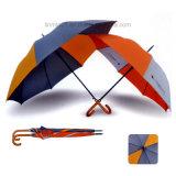 주문 옥외 가구 형식 로고 인쇄를 가진 목제 손잡이 Straigh 우산