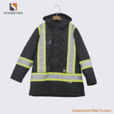 Chaqueta uniforme de la seguridad de tráfico del alto de la visibilidad del invierno Workwear reflexivo de las rayas