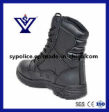 Bottes militaires en cuir véritable noir pour hommes (SYSG-005)