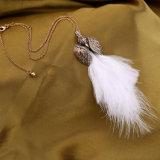Retro 우아한 모조 다이아몬드에 의하여 장식용 목을 박는 백조의 기털 펀던트 여자의 스웨터 목걸이