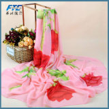 Женщин шалей цветка печати способа женщин шарф Silk шифоновый Silk