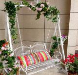 熱い販売の折る白い錬鉄の庭のベンチ