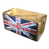 """Caja de almacenamiento de madera con el metal """"mantener la calma y seguir adelante"""""""