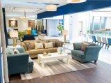Elegante Cadeira sofá de tecido azul / Champagne sofá de couro