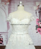 O tampão AG115 Sleeves vestidos de casamento nupciais do laço francês