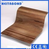 Panneau composé en aluminium de couleur en bois pour la décoration intérieure avec la taille 1220*2440*3mm