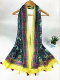 Impression de bord neuve de jaune de voile du type 100%Cotton avec la longue écharpe frangée de mode