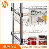 600 * 350 * 1200 mm, 3-Tier Wire Rack 4 Baskets Wire Display Rack com rodízios