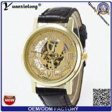 Horloge van yxl-839 Mensen van het Skelet van het Roestvrij staal van de Band van het Leer van 2015 het Mechanische voor Polshorloge van de Sport van de Mens het Gouden Mechanische