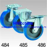 Blauer elastischer Gummirad-Schwenker-industrielle Fußrolle